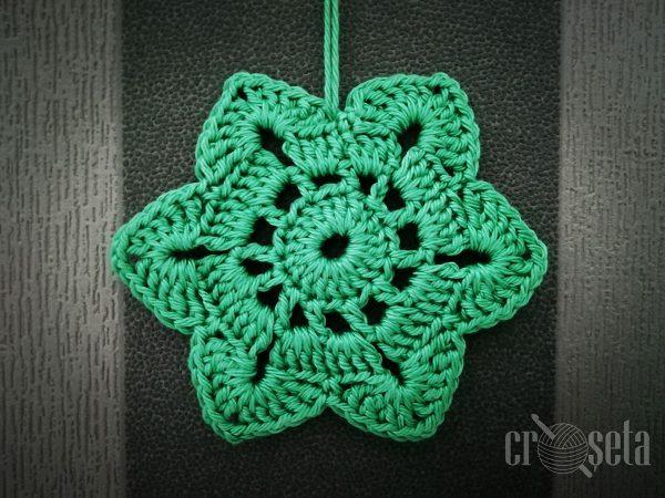"""Stea croșetată """"Green Star"""" pentru Crăciun - Handmade 100%"""