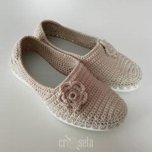 Espadrile crem crosetate manual - Model MADALINA
