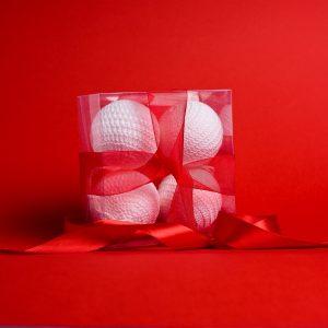 Set 4 ornamente croșetate de Crăciun - Glob 7 cm diametru