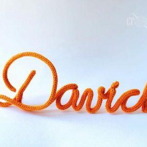 Nume decorativ portocaliu baieti DAVID