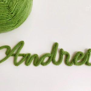 Nume decorativ snur verde Andrei