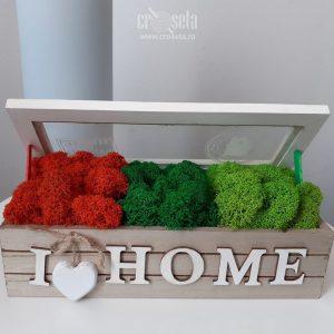 Cutie din lemn I LOVE HOME, cu licheni naturali