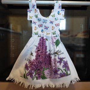 Prosop de bucatarie tip rochita - imprimeu cu fluturi si liliac