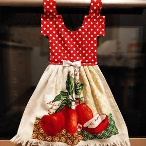 Prosop de bucătărie decorativ - imprimeu cu buline albe și mere roșii