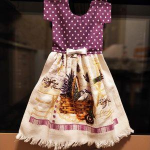 Prosop de bucătărie decorativ - imprimeu cu buline și lavanda