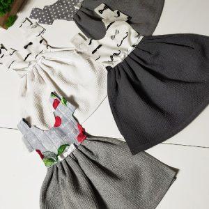 Prosop de bucătărie tip rochiță, Tonuri de gri - Set 4 buc.