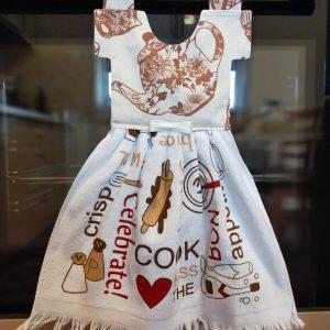 Prosop de bucătărie tip rochiță - cu mesaje și ceainic