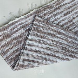 Pres satirat tesut manual la razboi, 60x120 cm - Alb, Crem, Maro