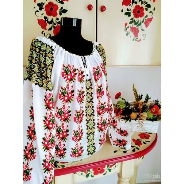 Ie cu buchețele de flori, cusută manual - Model MIRUNA