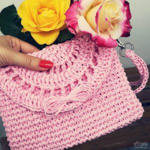Poșetă plic din rafie naturală roz - Model ROSE