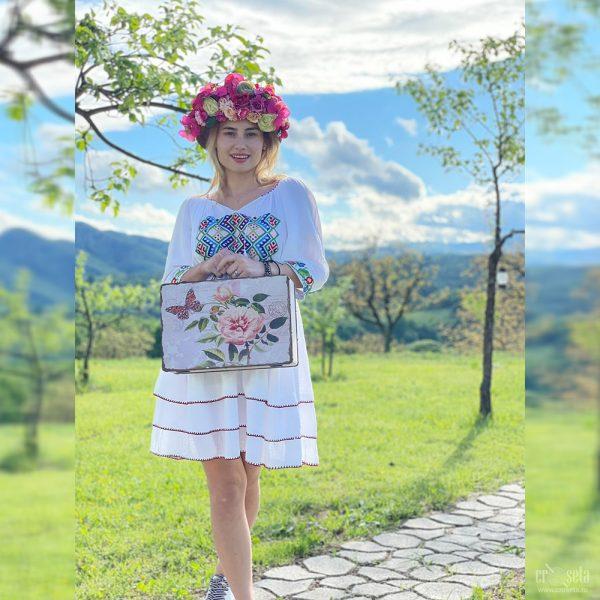 Rochie tradițională cusută manual - Model EMILIA