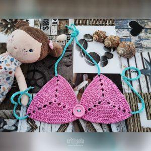 Top de baie pentru fetite - Roz/Albastru